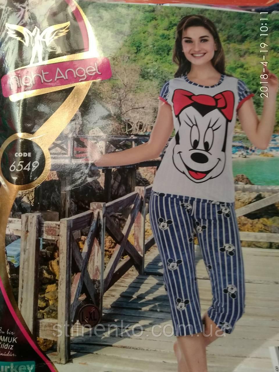 "Комплект ""Night Angel"" женский  (футболка+бриджами) модель 6549"