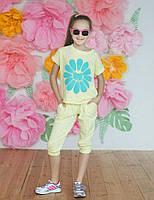 """Летний подростковый костюм для девочки 6-10 лет,""""Ромашка"""",желтый"""