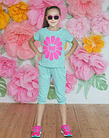 """Летний подростковый костюм для девочки 6-10 лет,""""Ромашка"""",бирюзовый"""