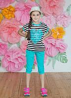 """Летний подростковый костюм для девочки 6-10 лет,""""Сердце"""",бирюзового цвета"""