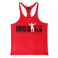 Мужская майка спортивная Muscle Alive, цвет красный
