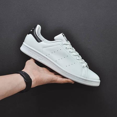 Женские натуральные кожаные кроссовки в стиле Adidas Stan Smith Black\White, фото 2