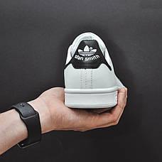 Женские натуральные кожаные кроссовки в стиле Adidas Stan Smith Black\White, фото 3