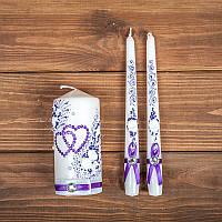 Набор  свадебных свечей с фиолетовым декором (арт. WC-013)