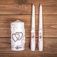 Набор  свадебных свечей с  декором (арт. WC-014)
