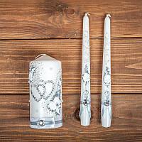 Набор  свадебных свечей с серебряным декором (арт. WC-015)