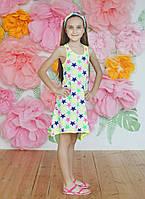 """Летний подростковый сарафан для девочек 6-10 лет""""Звездочки"""",белого цвета"""