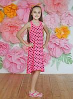 """Летний подростковый сарафан для девочек 6-10 лет""""Горошек"""",розового цвета"""