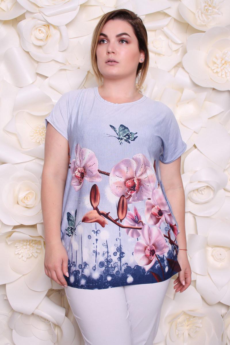 Блузка женская Орхидеи р 54-58