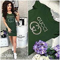 f8347137709 Женское модное платье-туника с надписью Gucci