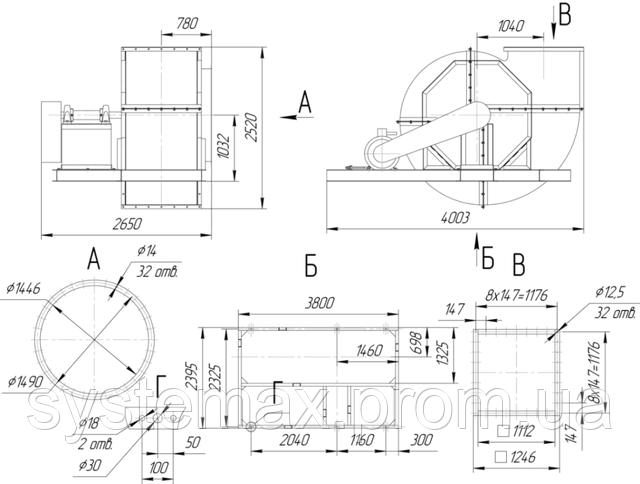 Габаритные и присоединительные размеры радиального вентилятора ВЦ 4-76 №16
