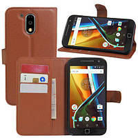 Чехол для Motorola Moto G4 / G4 plus книжка (XT1622 / XT1642) коричневый