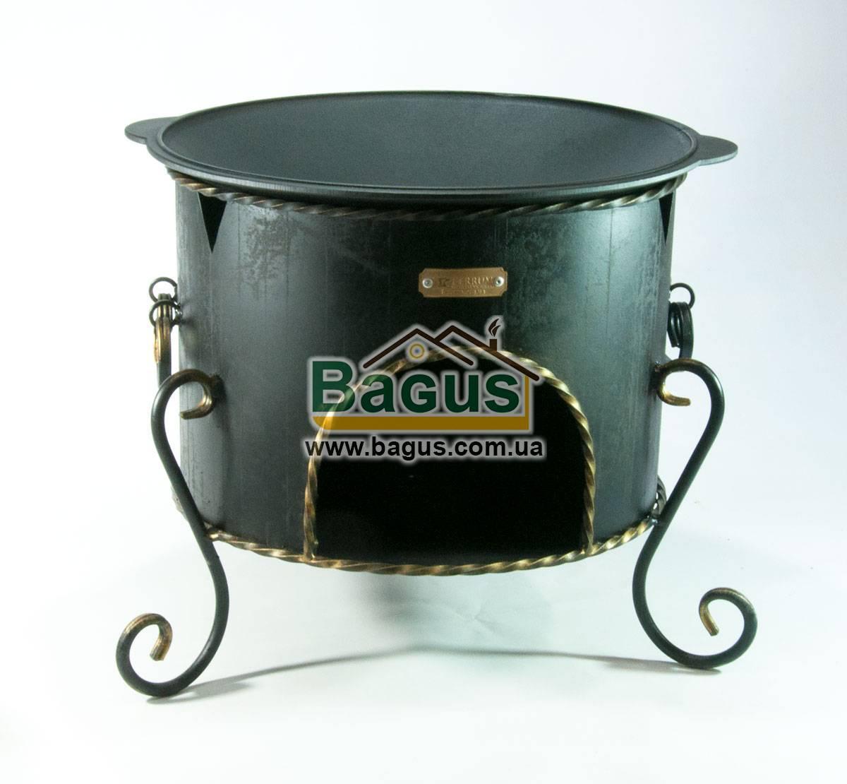 Сковородка садж чугунная 40см с печью ЭКОЛИТ 4010КС-1