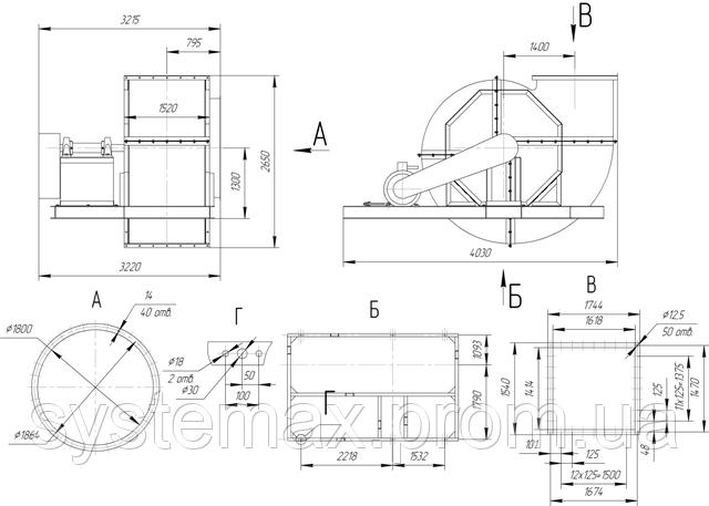 Габаритные и присоединительные размеры радиального вентилятора ВЦ 4-76 №20