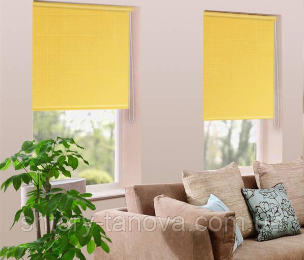 Готовые рулонные шторы лен желтый