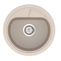 Маленькая круглая кварцевая мойка 45 см Vankor Polo PMR 01.45 бежевая