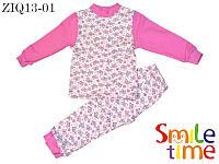 Пижама утепленная для девочки р.104,110,116,122,128 SmileTime Бабочки розовые, байка
