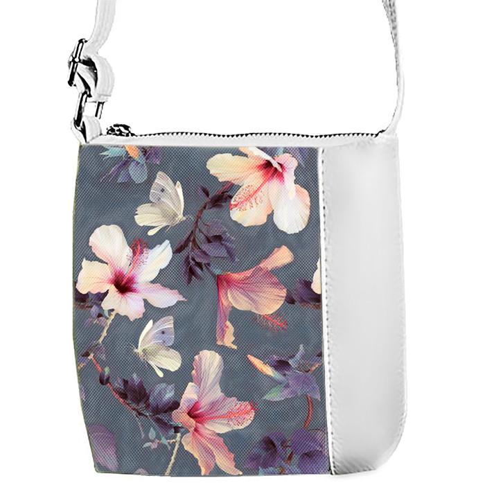 Белая сумочка с принтом Цветы на сером фоне