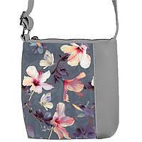 Серая сумочка с принтом Цветы на сером фоне