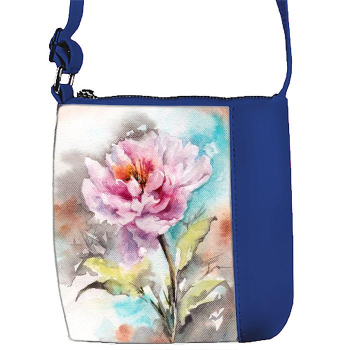Синяя сумочка для девочки с принтом Пион