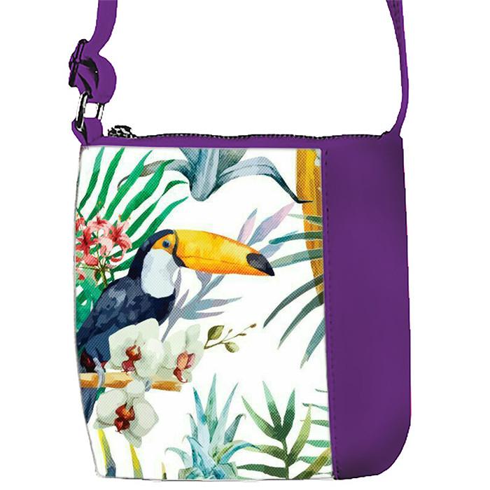 Фиолетовая сумочка с принтом Пеликан