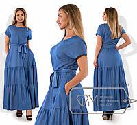 Джинсовое длинное платье батал