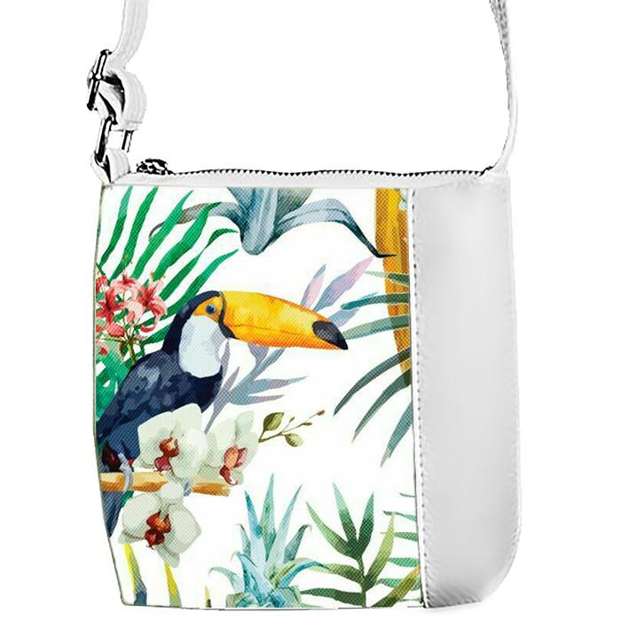 Белая сумочка с принтом Пеликан