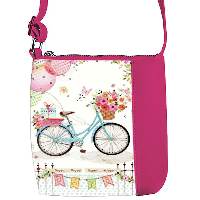 Розовая сумочка с принтом Велосипед