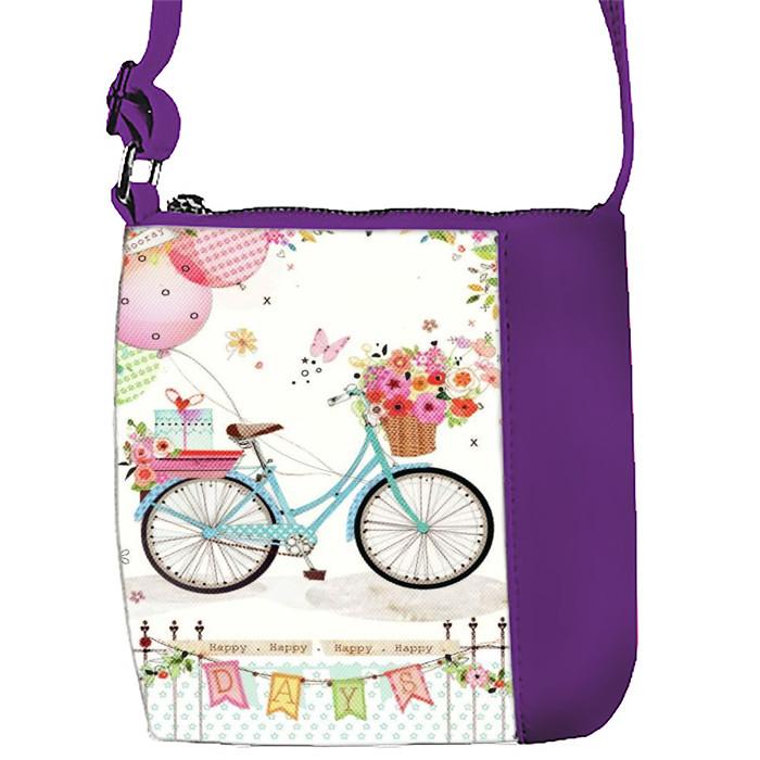 Фиолетовая сумочка с принтом Велосипед