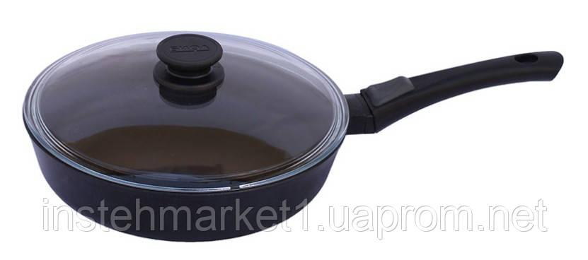 Сковорода БИОЛ 22071ПС (диаметр 220 мм) алюминиевая с антипригарным покрытием, бакелитовая ручка, крышка
