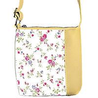Бежевая сумочка с принтом Нежные цветы