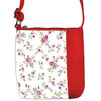 Красная сумочка с принтом Нежные цветы