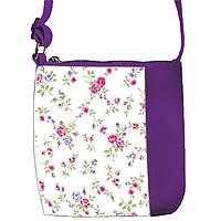 Фиолетовая сумочка с принтом Нежные цветы