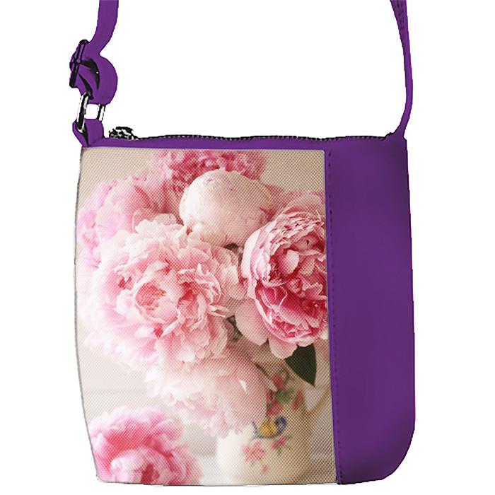 Фиолетовая сумочка для девочки с принтом Пионы