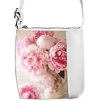 Белая сумочка с принтом Пионы