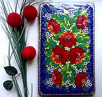 Подарки необычные и полезные на новоселье Доска бук большая 39*24 см разделочная кухонная ручной росписи