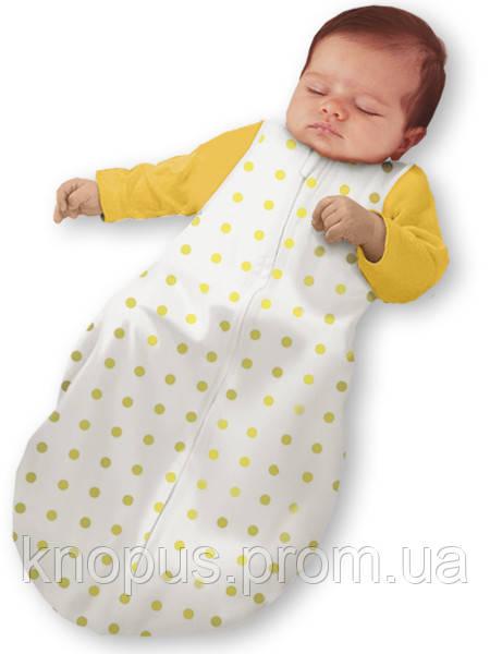 """Пеленка-кокон на молнии """"Крепкий сон 4"""" Summer """"Eko-Cotton"""", белая в желтый горох, без рукава, Ontario  -linen"""