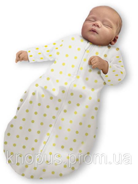 """Пеленка-кокон на липучке """"Крепкий сон 5""""  """"Eko-Cotton"""", белая в желтый горох, с рукавами, Ontario Baby"""