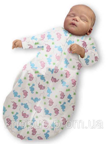 """Пеленка-кокон  """"Крепкий сон 5"""" Summer+ """"Eko-Cotton"""", белая с рисунком, с рукавом, , Ontario Baby"""