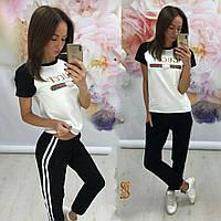 Женский спортивный костюм-двойка брюки и футболка Gucci Батал 8d017120de425