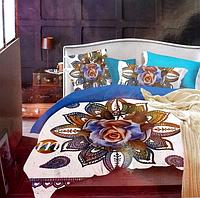 5D Постельное белье Евро размера East Comfort синяя роза