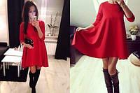 """Платье """"Трапеция"""" ( 9 цветов в наличии) красное"""