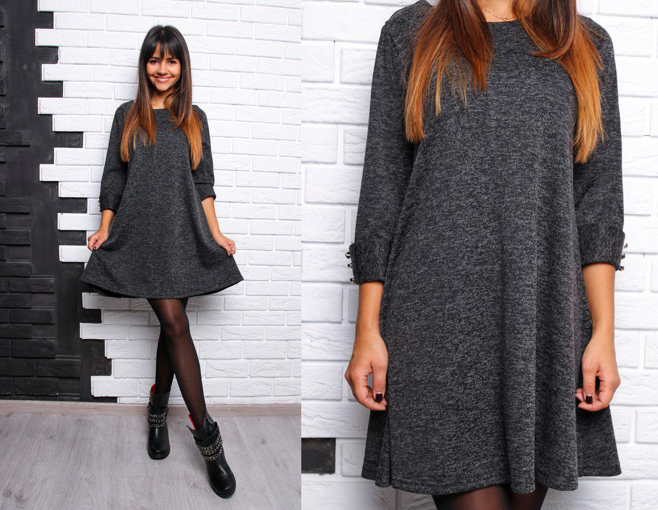 Ангоровое платье расклешенного кроя, цвет - черный