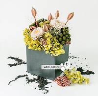 Букет из стабилизированных растений, композиция цветов Pink with green 20 см Япония