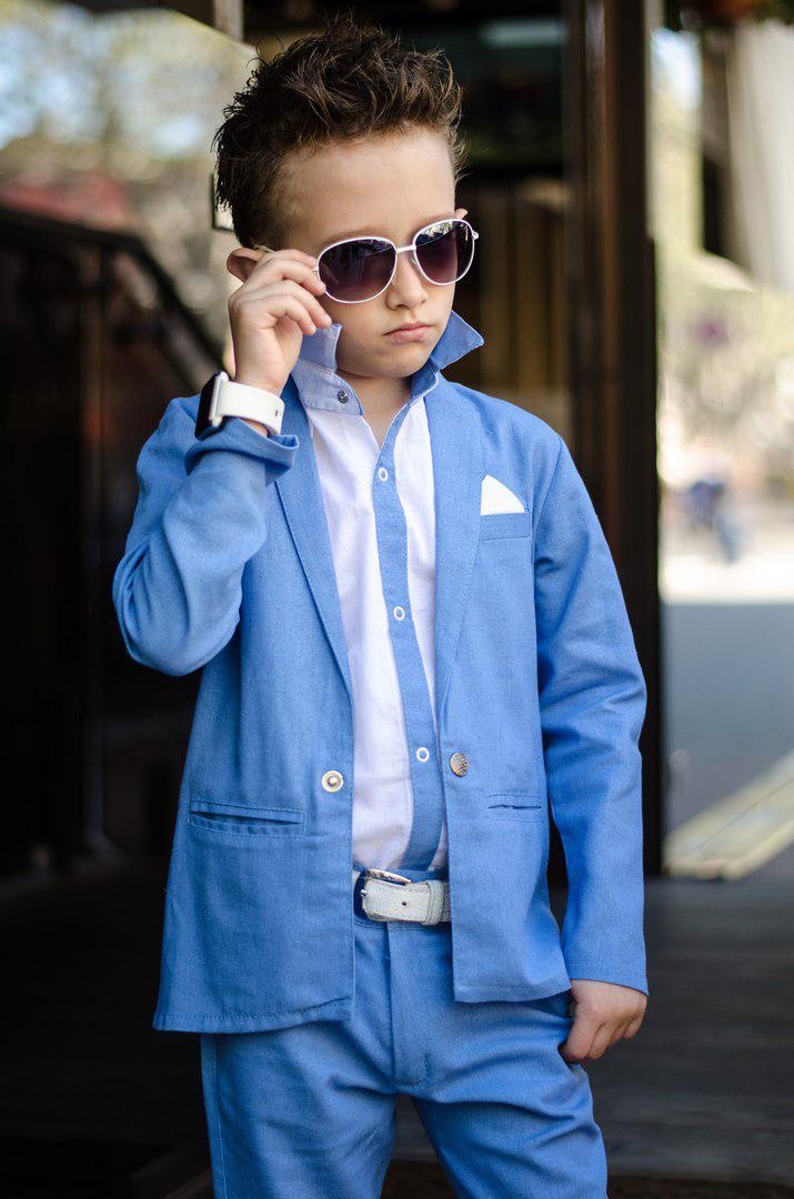 8cb6a930482c9e2 Костюм на выпускной в садик,лен, для мальчика тройка голубой классика пиджак +брюки