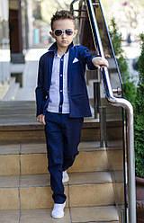 Костюм классика для мальчика тройка школьный лен пиджак+брюки+рубашка