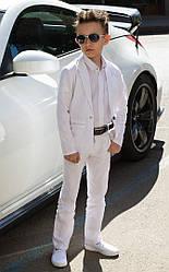 Костюм трійка: піджак+штани+сорочка для хлопчика класика білий