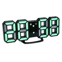 Часы настенные / настольные электронные черный+зеленый (Пластик, LED) + Адаптер сетевой