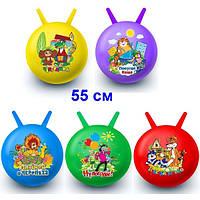 Мяч для фитнеса с рожками детский , 65 см.