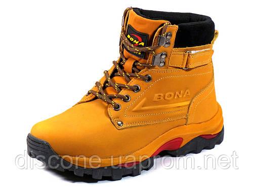 Кроссовки зимние Bona унисекс песочные кожаные шнурок